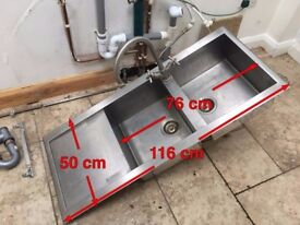 SMEG Inset Double Sink (116 x 50cm) with Clearwater Mixer Tap 39cm