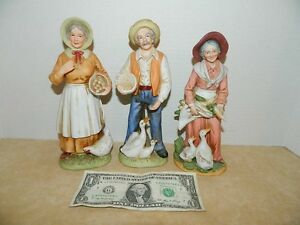 Vintage homco home interiors old man and two women farmers Eba home interior figurines