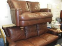 3 + 2 BROWN LEATHER SOFAS at Haven Housing Trust's charity shop