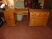 Pine chest of drawers and matching desk with drawers