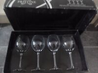 Wine Goblets X 4 Boxed Each glass holds 80cl 'Flow by Pristine' Mouthblown handmade glass. New