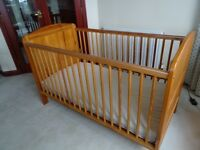 Brittany pine cot bed and mattress in excellent condition.