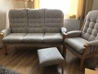 3 Seater, 1 Armchair and Footstool for Sale
