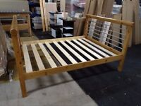 Solid Pine, antique pine finished, Rimini style standard king size bed frame HUGE DISCOUNT just £50!
