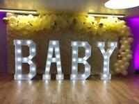 BABY SHOWER DECOR, BABY LETTERS,BABY CAKE TABLE, FLOWER WALL, CHIAVARI CHAIR HIRE, BABY BLOCKS