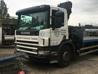 SCANIA 94D 260 FLAT BED LORRY WITH CRANE