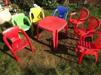 Kids garden plastic table and 7 chairs