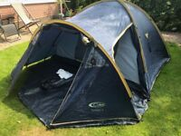 Gelert Tornado Blue 4 Man Tent: Fitted ground sheet, enclosed porch on front, repair kit included