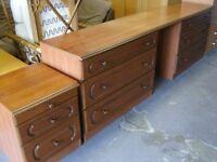 Schreiber Bedroom Furniture Set. 6 Drawer Dressing Table Unit and Bedside Cabinet