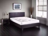 ***⚫***Pocket sprung Mattress***⚫ New Double Leather Bed With 1000 Pocket Sprung Mattress