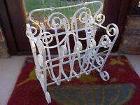 Retro vintage white wrought iron magazine rack. Stylish ideal for lounge, conservatory or bedroom