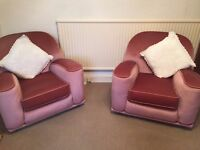 Vintage Art deco three piece suite, (sofa and two chairs)