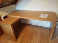 Ikea MALM oak veneer desk with pull out panel