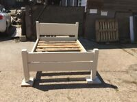 Chunky rustic solid timber small double bed painted