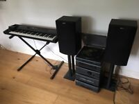 Roland D20 synthesiser with stand plus Sony hi-fi and speaker