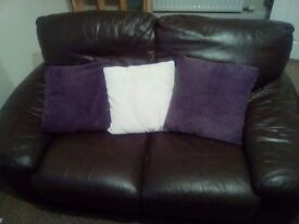 Brown leather 2 seater sofa - LIKE NEW!