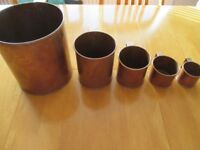 Set of 5 Galt's Early Stages Copper Measuring Jugs