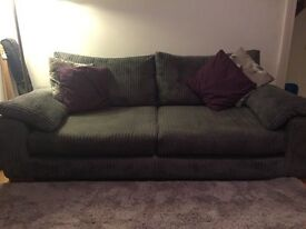 Large 3 seater jumbo cord grey sofa
