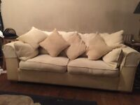 TWO CREAM SOFAS - 2 SEATER AND 3 SEATER - CAN BE SOLD SEPARETLY