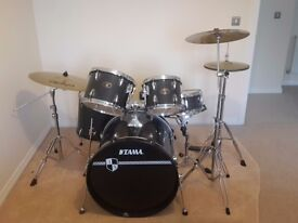 5 piece Tama drum kit with silencer pads and Paiste 101 cymbal set