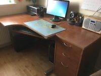 Corner Desk w/ 3 Drawer Cabinet