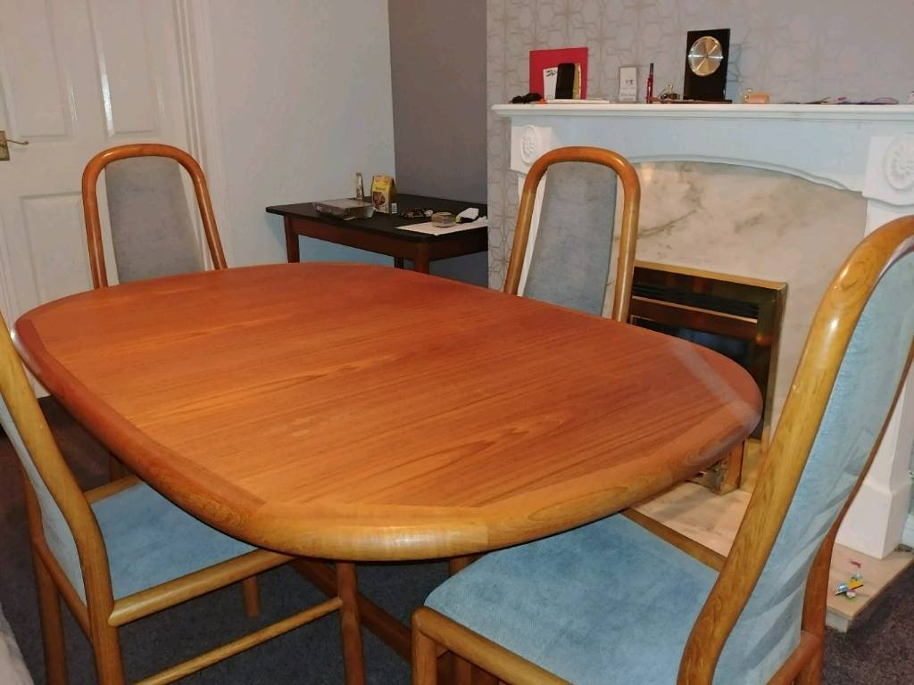 Danish Edward Valentinsen Teak Dining Table and 6 Danish Boltinge chairs