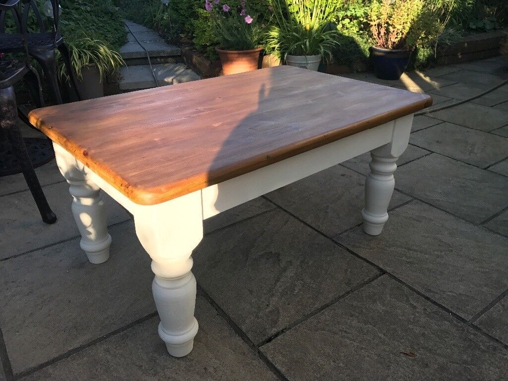 Pine coffee table with cream chalk painted legs
