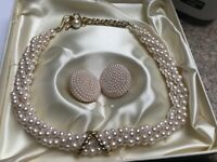 Vintage faux (Marvella) pearl necklace and earring set