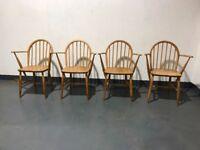 Set of 4 Vintage ERCOL Windsor Armchairs Carver Blue Label