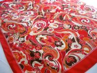 VINTAGE RETRO 100% Silk Scarf, Orange, Red, White - Measures 81cm x 81cm (32 inches x 32 inches)