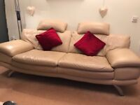 3 piece leather sofa and foot stool