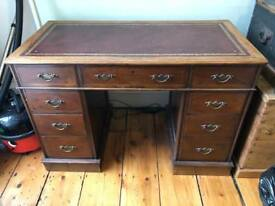 Antique Style Leather Top Desk