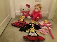 Build a bear Miss Piggy(limited edition) Hello Kitty (limited edition) and 6 additional outfits