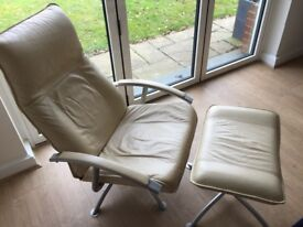 Cream leather recliner and footstool from John Lewis