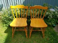 2x solid farmhouse dining chairs