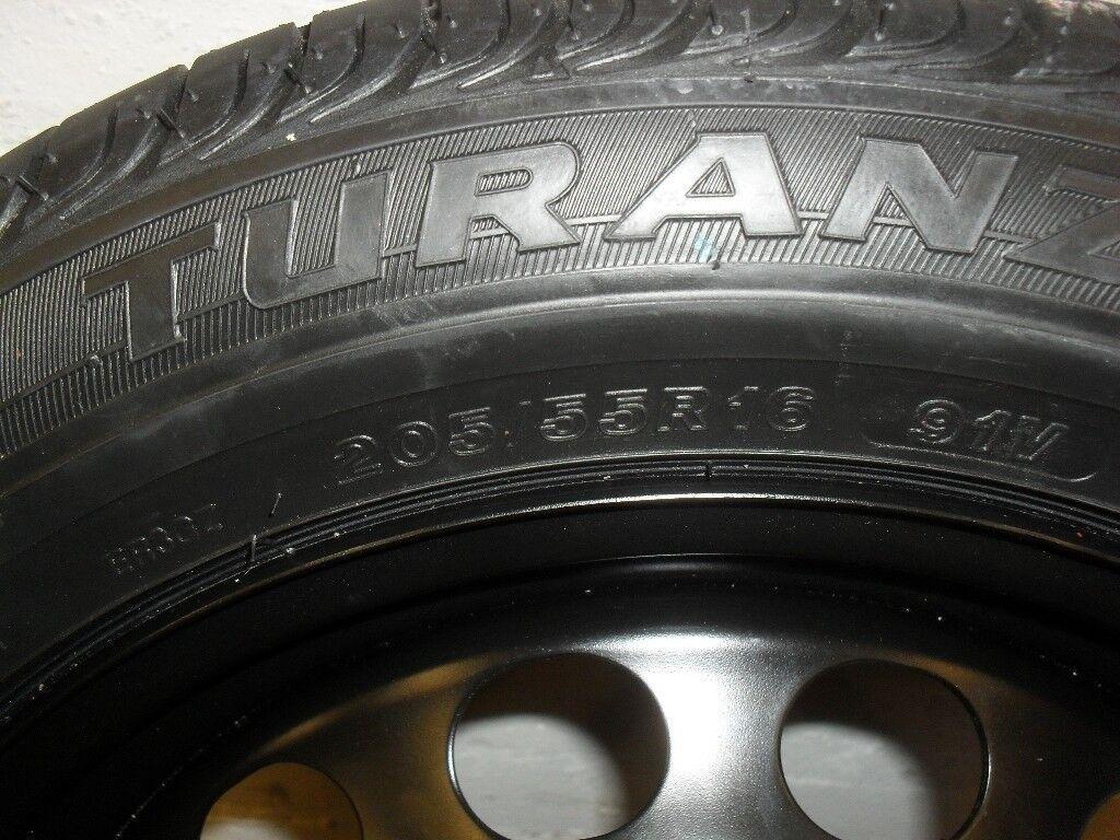"new bridgestone 16"" steel wheel with new Tyre, (not space saver) five stud, 5 x 112 hole."
