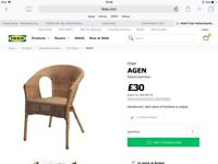 Ikea Agen wicker chair and seat pad