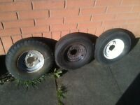 Three (3) Trailer Wheels and Tyres