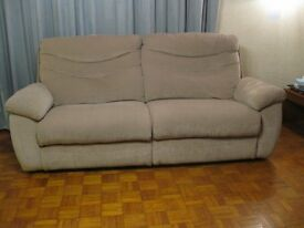 3 seater sofa, good condition, 3 yrs old, light brown/taupe, buyer collects, cash on collection.