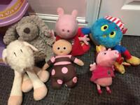 Bundle of 6 character soft toys