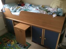 Kids Cabin Bed (Drawers, Cupboard, Desk) with Mattress