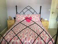 Gothic arch wrough iron double bed frame