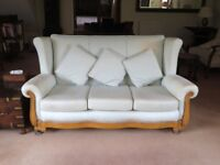 FREE! Light green high back three seater sofa with wooden trim