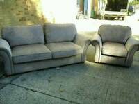 9 month old mink coloured material 3 seater sofa & matching chair