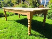 Large 12 Seater Antique Farmhouse Pine Table with Drawers and Scrubbed Top