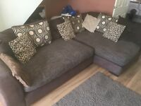 DFS CORNER SOFA + CHAIR & FOOT STOOL