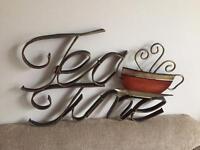 Metal 'TEA TIME' wall art £3
