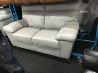 ScS New/Ex Display Grey Leather 2/3 Seater Sofa
