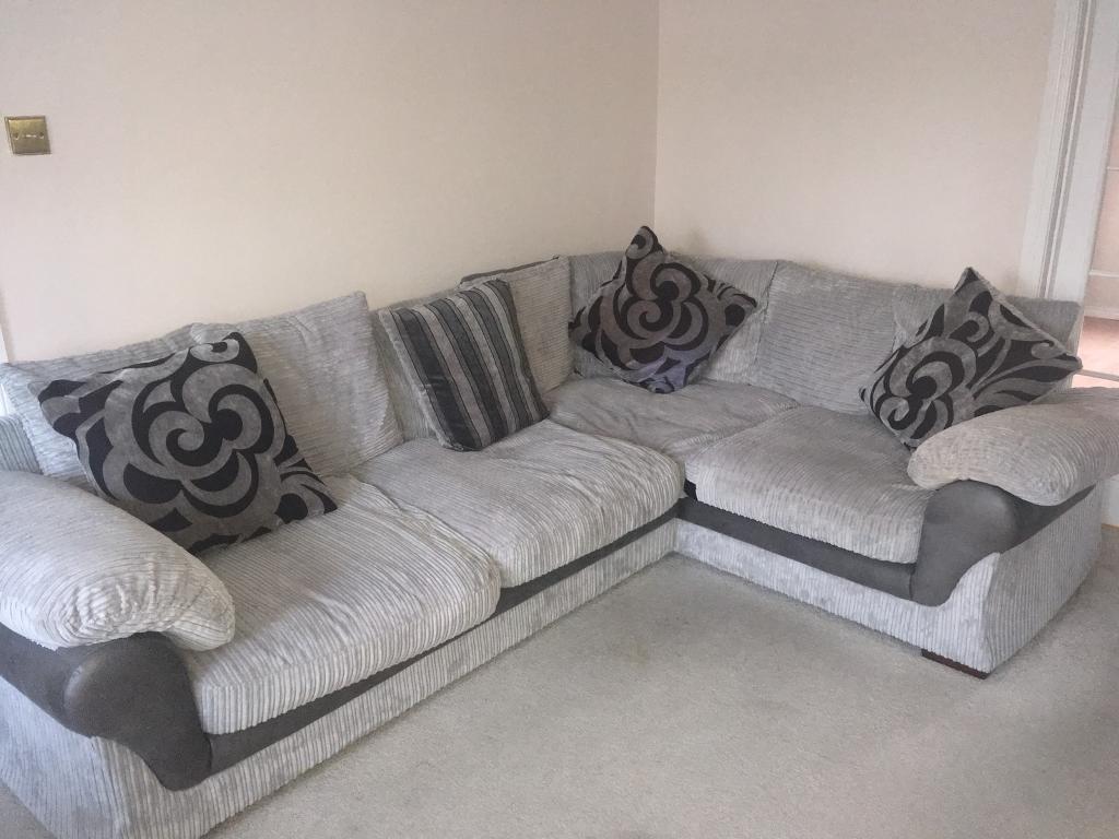 Corner grey fabric sofa