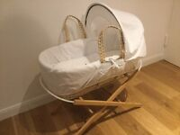 New Moses Basket with Stand and Mattress & Blanket!